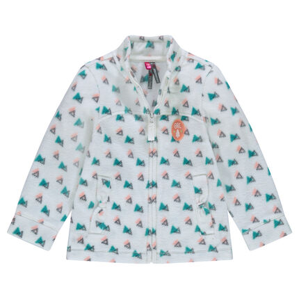Printed microfleece jacket with bow pockets