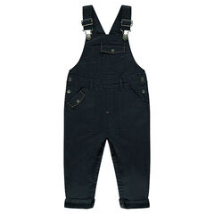Twill overalls with pockets and jersey lining