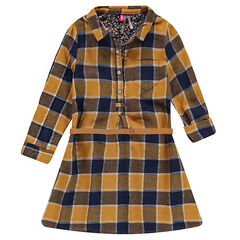 Long-sleeved checkered shirt dress with a camel-colored belt