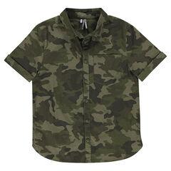Junior - Chemise manches courtes en coton fantaisie army