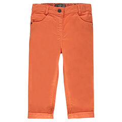 Plain-colored, twill slim pants