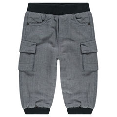 Microfleece-lined fleece pants with pockets