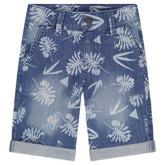 Used-effect denim bermuda shorts with an allover vegetation motif