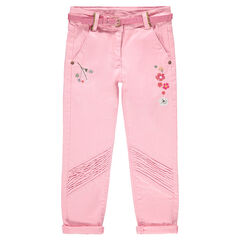 Twill pants with embroidered flowers and sparkly belt