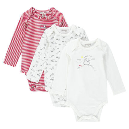 Set of 3 striped/plain-colored/printed long-sleeved jersey bodysuits