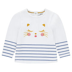 Long-sleeved tee-shirt with a cat print and stripes