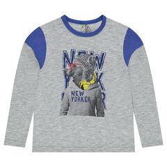 Junior - Long-sleeved jersey tee-shirt with printed bear