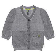 Heather gray knit cardigan with pocket