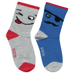 Set of 2 pairs of socks with jacquard characters