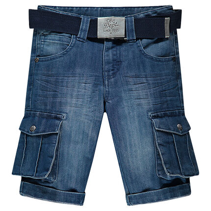 Junior - Distressed denim bermuda shorts with pockets and belt
