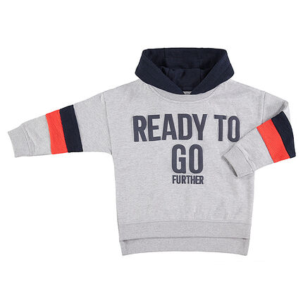 Hooded fleece sweatshirt with a printed message