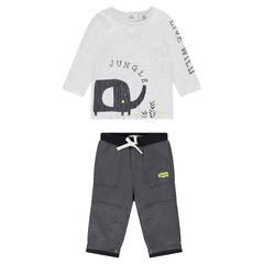 Ensemble with tee-shirt featuring an elephant print and fleece pants