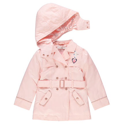 Plain pale pink trench coat with satin lining