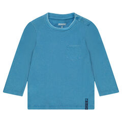 Long-sleeved ribbed tee-shirt with a patch pocket