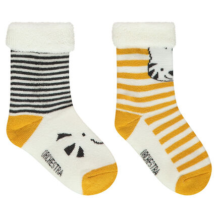 Set of 2 pairs of assorted socks with jacquard stripes and animals