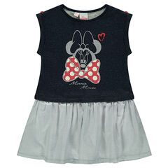 2-in-1 effect bi-material dress with a ©Disney Minnie Mouse print