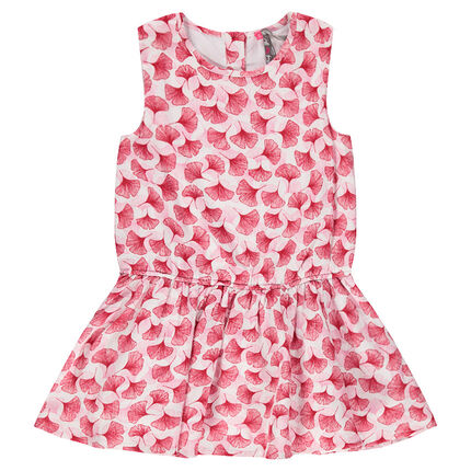 Printed flared dress in viscose crepon