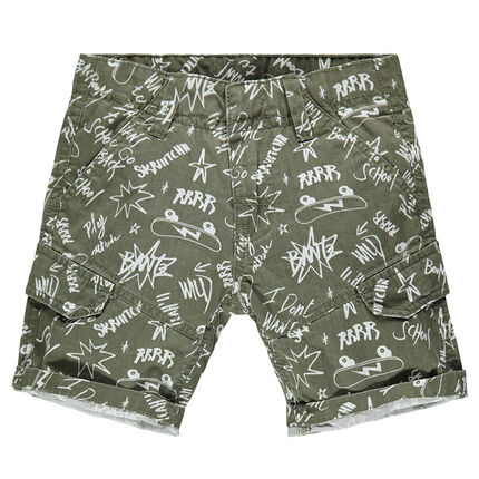 Twill bermuda shorts with an allover graffiti print