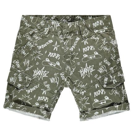 Junior - Twill bermuda shorts with an allover graffiti print