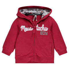 Hooded fleece jacket with plush loop writing