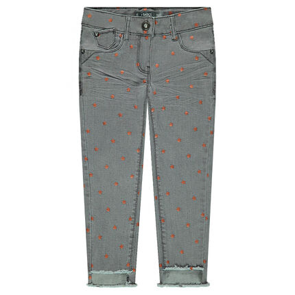 Crinkled-effect slim fit jeans with shiny stars all over