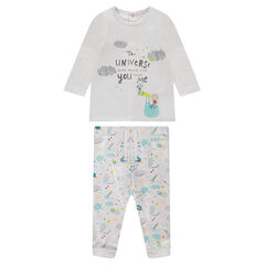 Ensemble with a double jersey tee-shirt and fleece pants with print and a sherpa backing