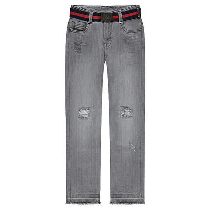 Junior - Used and crinkled-effect jeans with a removable belt
