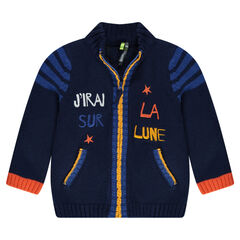 Knit cardigan with embroidered message