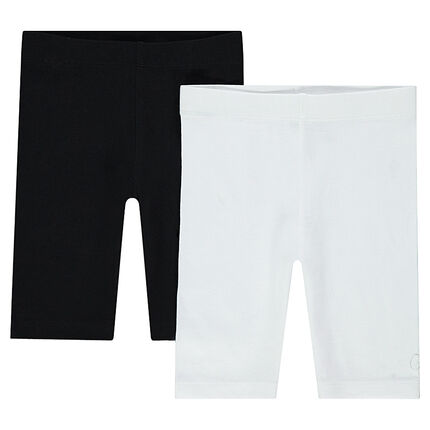 Set of 2 plain-colored cycling shorts