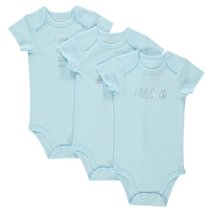 Set of 3 short-sleeved bodysuits with different prints