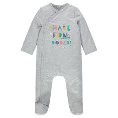 Fleece footed sleeper with printed messages in front