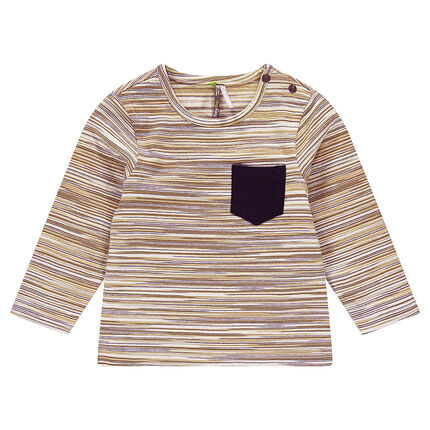 Long-sleeved tee-shirt with multicolored stripes