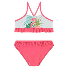 2-piece swimsuit with frills and a pink flamingo