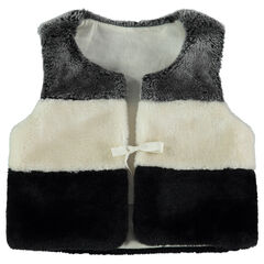 Jersey-lined tricolored sherpa cardigan