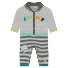 2-in-1 effect knit jumpsuit with a French terry message and rocket patch