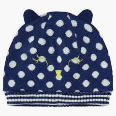 Jersey-lined knit cap with jacquard polka dots