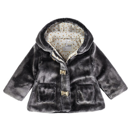Hooded sherpa coat with a printed jersey lining and horn