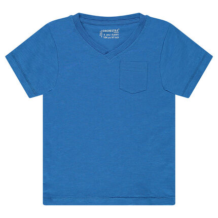 Junior - Short-sleeved, plain-colored slub tee-shirt with pocket