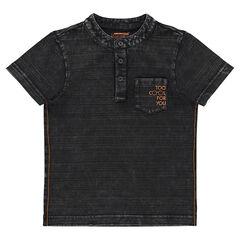 Short-sleeved striped-effect tee-shirt with a mandarin collar