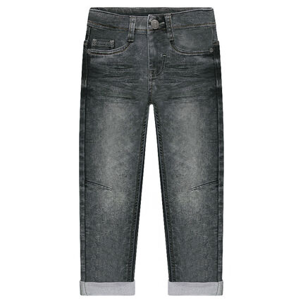 Used and crinkled-effect fleece jeans