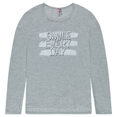 Junior - Long-sleeved long fit tee-shirt with a printed message
