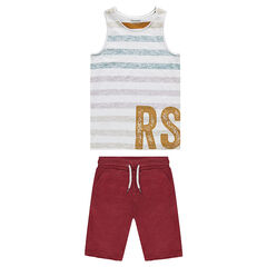Junior - Set with striped tank top and fleece bermuda shorts