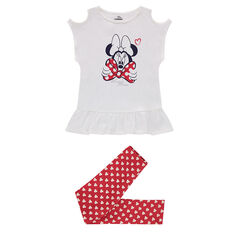 Ensemble with a bare-shouldered tee-shirt featuring a Minnie Mouse print and leggings