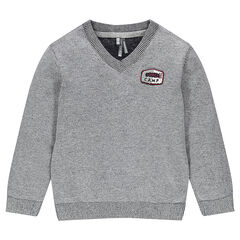 Junior - Knitted Sweater with Patched Badge