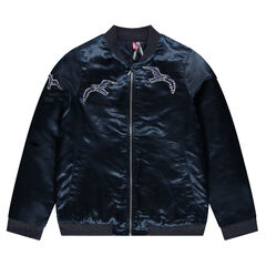 Satiny bomber jacket with sequined birds