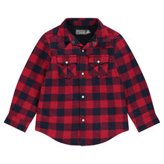 Microfleece-lined checkered flannel overshirt