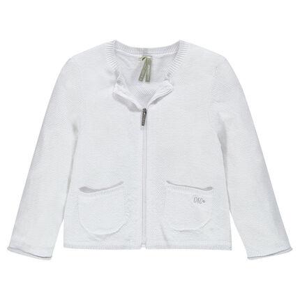 Plain-colored cardigan in an original cotton fabric