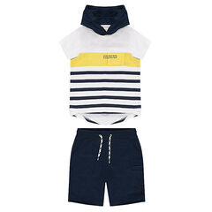 Ensemble with a striped hooded tee-shirt and bermuda shorts in light fleece