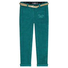 Slim velvet pants with removable belt