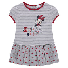 Disney Minnie short sleeve dress in mesh with dots and stripes
